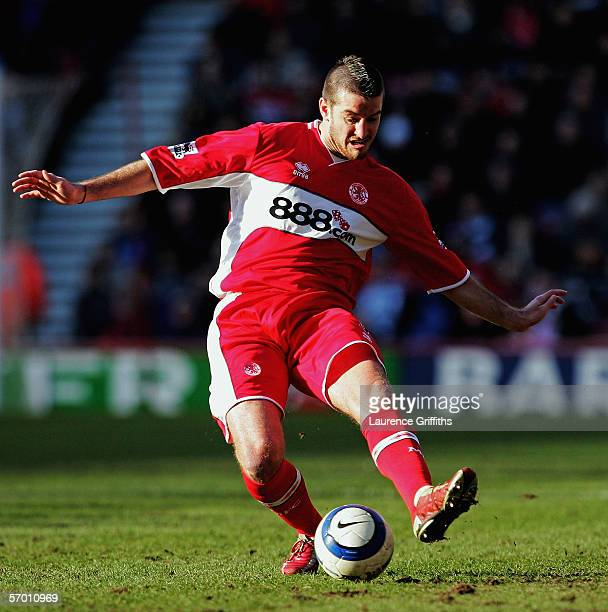 Franck Queudrue of Middlesbrough tackles the ball during the Barclays Premiership match between Middlesbrough and Birmingham City at The Riverside...