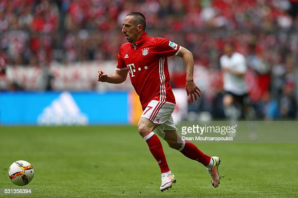 Franck Rebery of Bayern Muenchen in action during the Bundesliga match between FC Bayern Muenchen and Hannover 96 at Allianz Arena on May 14 2016 in...