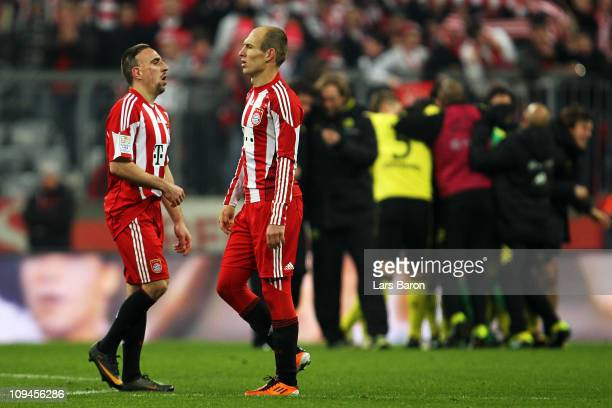 Franck Ribery and Arjen Robben of Muenchen are looking dekected after loosing the Bundesliga match between FC Bayern Muenchen and Borussia Dortmund...