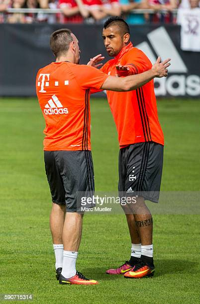 Franck Ribery and Arturo Vidal of FC Bayern Munich are seen during an training session on August 17 2016 in Munich Germany