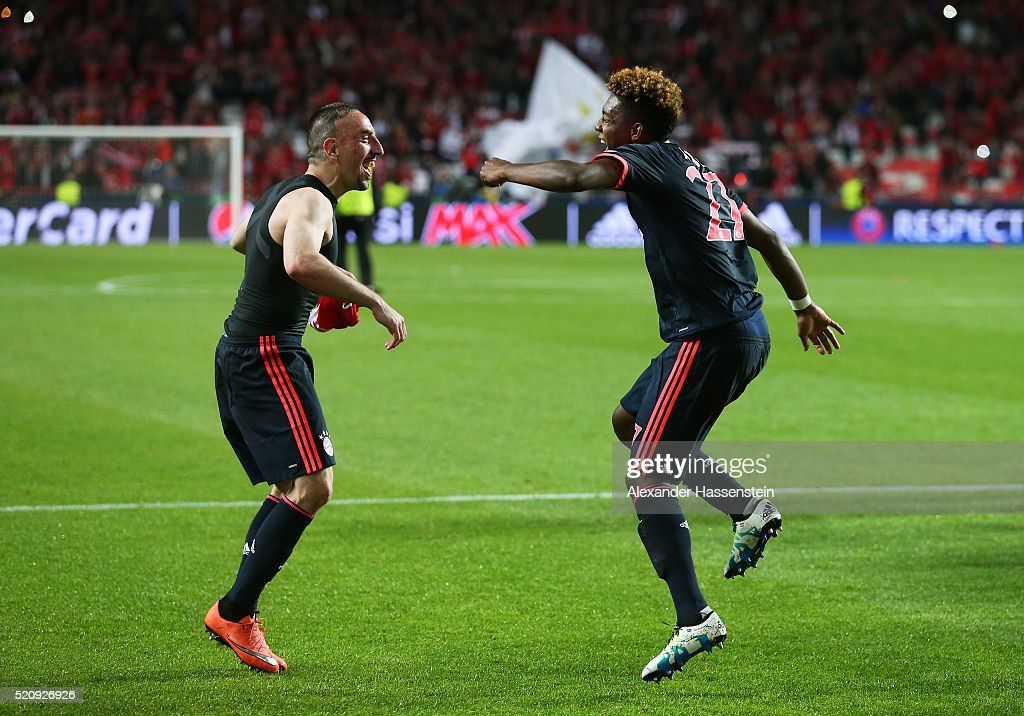 Franck Ribery and David Alaba of Bayern Muenchen celebrate after the UEFA Champions League quarter final second leg match between SL Benfica and FC Bayern Muenchen at Estadio da Luz on April 13, 2016 in Lisbon, Portugal.