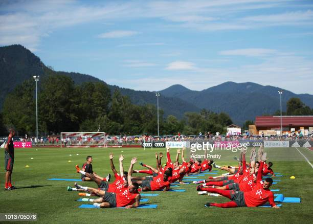 Franck Ribery and Kingsley Coman of Bayern Munich in action during FC Bayern Muenchen pre season training on August 9, 2018 in Rottach-Egern, Germany.