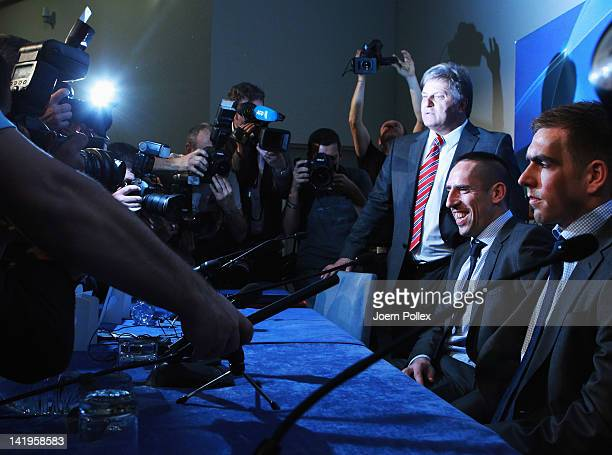 Franck Ribery and Philipp Lahm attend a Bayern Muenchen press conference ahead of their UEFA Champions League Round of 8 first leg match against...