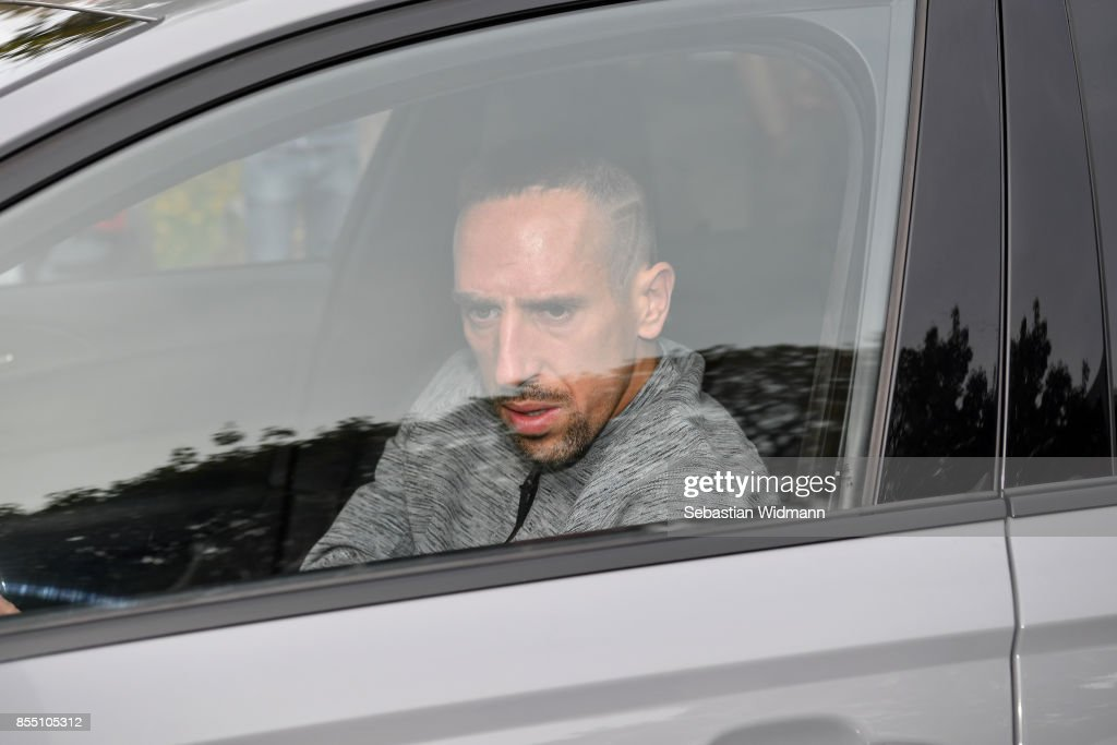 Franck Ribery arrives at the Saebener Strasse training ground on September 28, 2017 in Munich, Germany. FC Bayern Muenchen has sacked head coach Carlo Ancelotti after the 3 - 0 defeat in last night's UEFA Champions League match against Paris Saint-Germain.