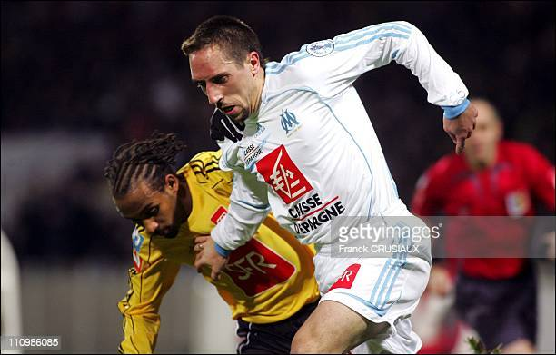 Franck Ribery at the 32ndfinals of the Coupe de France Football CambraiMarseille Marseille players Franck Ribery and Djibril Cisse play together for...
