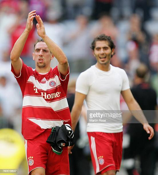 Franck Ribery celebrates with the fans after the Bundesliga match between FC Bayern Munich and Hanover 96 at the Allianz Arena on August 25 2007 in...