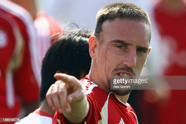 Franck Ribery gestures during a training session of Bayern Muenchen at the ASPIRE Academy for Sports Excellence on January 8, 2012 in Doha, Qatar.