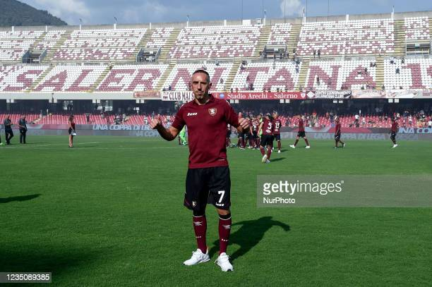 Franck Ribery gestures during his presentation as the new signing for US Salernitana 1919 at Stadio Arechi, Salerno, Italy on 6 September 2021.