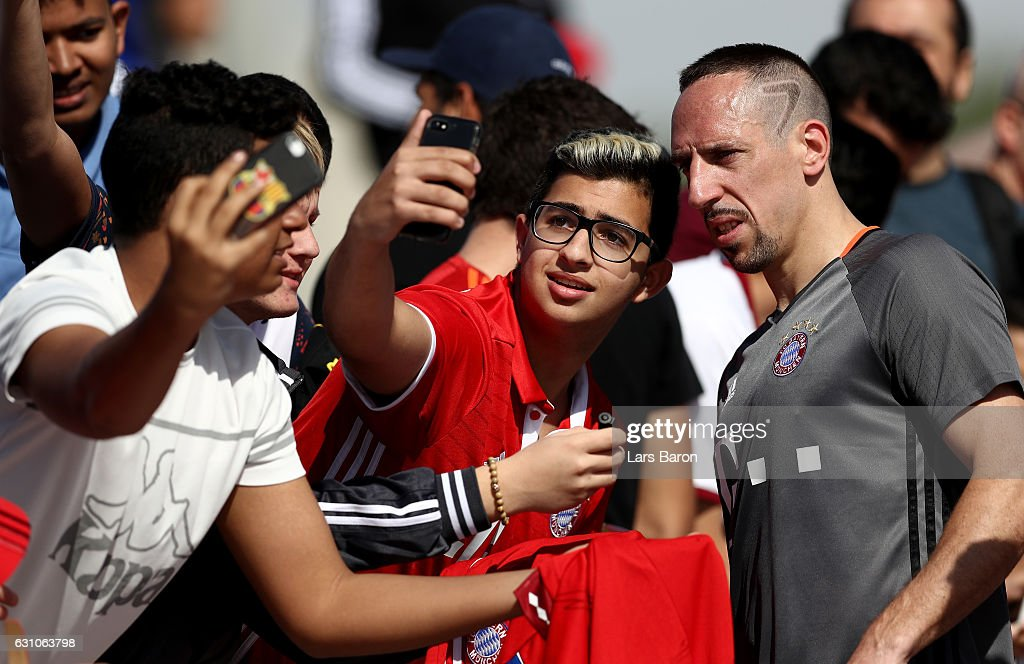Franck Ribery is seen with fans after a training session at day 4 of the Bayern Muenchen training camp at Aspire Academy on January 6, 2017 in Doha, Qatar.