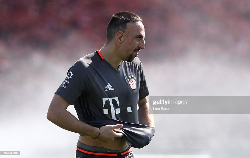 Franck Ribery looks on during a training session at day 2 of the Bayern Muenchen training camp at Aspire Academy on January 4, 2017 in Doha, Qatar.