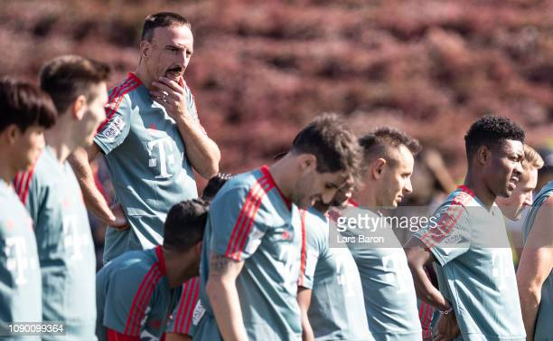 Franck Ribery looks on during a training session at day two of the Bayern Muenchen training camp at Aspire Academy on January 05 2019 in Doha Qatar