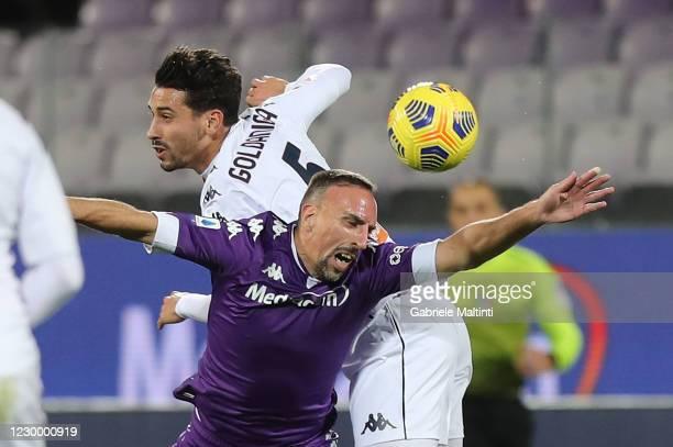 Franck Ribery of ACF Fiorentina battles for the ball with Edoardo Goldaniga of Genoa CFC during the Serie A match between ACF Fiorentina and Genoa...
