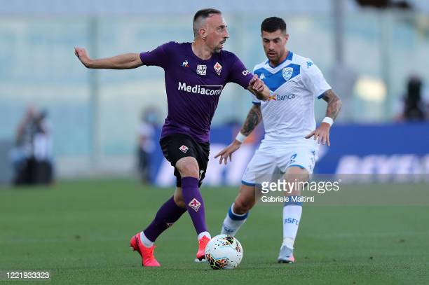 Franck Ribery of ACF Fiorentina in action during the Serie A match between ACF Fiorentina and Brescia Calcio at Stadio Artemio Franchi on June 22...