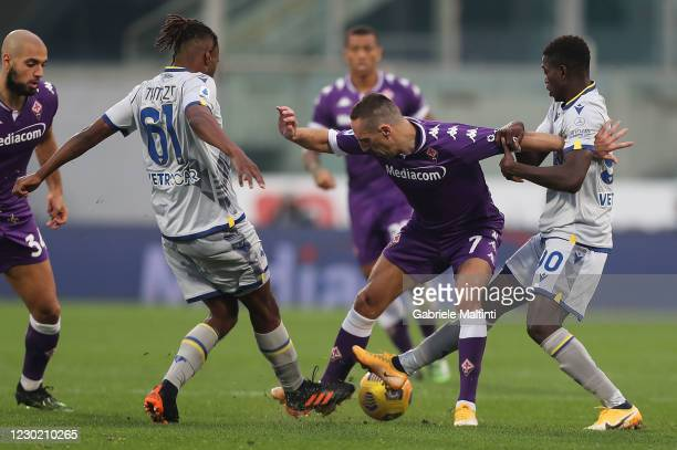 Franck Ribery of ACF Fiorentina in action during the Serie A match between ACF Fiorentina and Hellas Verona FC at Stadio Artemio Franchi on December...