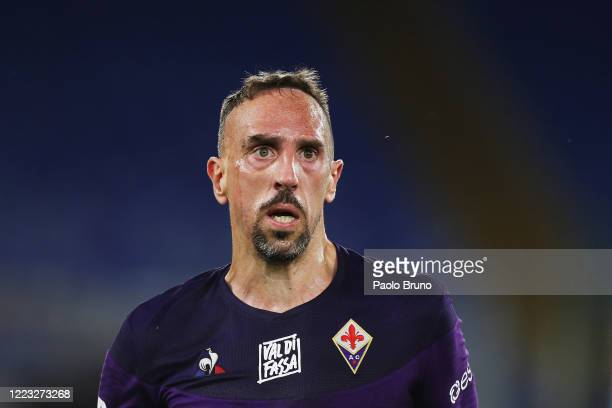 Franck Ribery of ACF Fiorentina looks on during the Serie A match between SS Lazio and ACF Fiorentina at Stadio Olimpico on June 27, 2020 in Rome,...