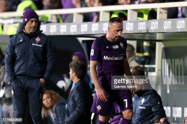 Franck Ribery of ACF Fiorentina reacts during the Serie A match between ACF Fiorentina and SS Lazio at Stadio Artemio Franchi on October 27 2019 in...