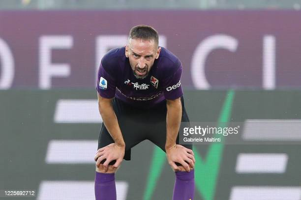 Franck Ribery of ACF Fiorentina reacts during the Serie A match between ACF Fiorentina and Cagliari Calcio at Stadio Artemio Franchi on July 8, 2020...