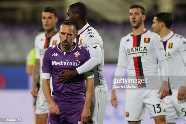 FRanck Ribery of aCF Fiorentina reacts during the Serie A match between ACF Fiorentina and Genoa CFC at Stadio Artemio Franchi on December 7, 2020 in...