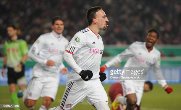 Franck Ribery of Bayern celebrates after scoring his team's opening goal during the DFB Cup Quarter Final match between VfB Stuttgart and Bayern...