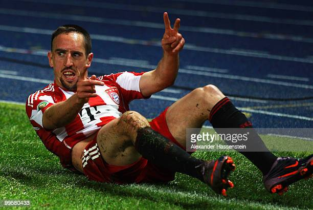 Franck Ribery of Bayern celebrates after scoring his team's third goal during the DFB Cup final match between SV Werder Bremen and FC Bayern Muenchen...