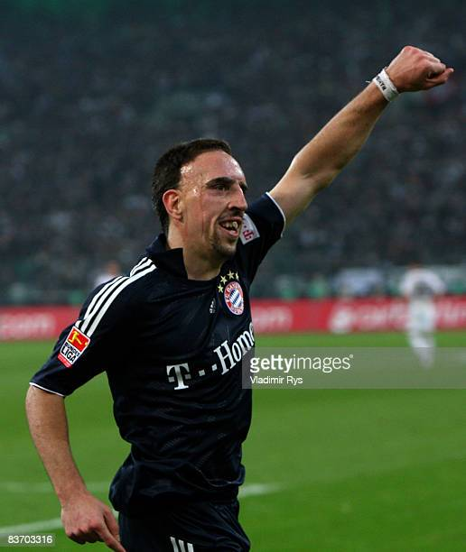 Franck Ribery of Bayern celebrates his 0:2 penalty kick goal during the Bundesliga match between Borussia Moenchengladbach and FC Bayern Muenchen at...
