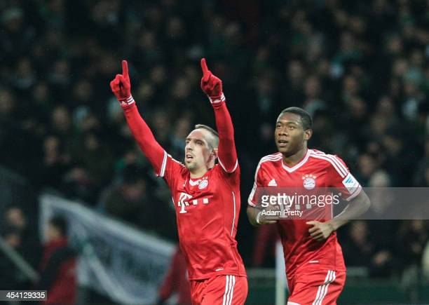 Franck Ribery of Bayern celebrates scoring a goal during the Bundesliga match between Werder Bremen and FC Bayern Muenchen at Weserstadion on...