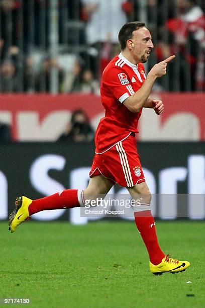 Franck Ribery of Bayern celebrates scoring his team's first goal during the Bundesliga match between FC Bayern Muenchen and Hamburger SV at Allianz...