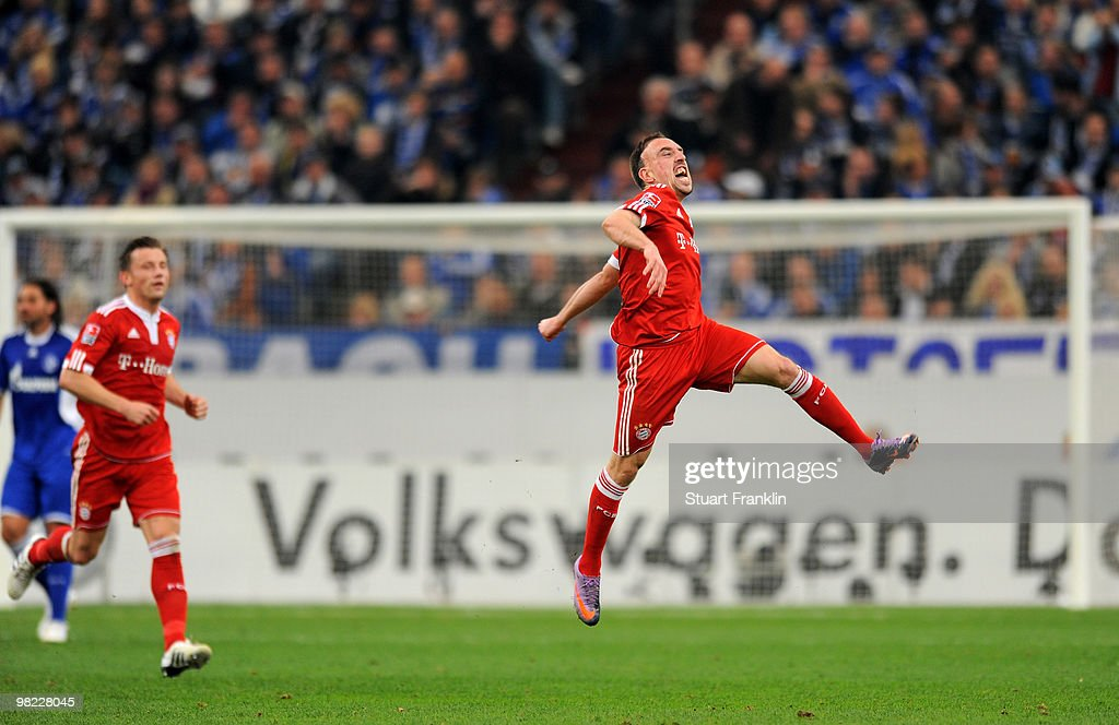 Franck Ribery of Bayern celebrates scoring his team's first goal during the Bundesliga match between FC Schalke 04 and FC Bayern Muenchen at the Veltins Arena on April 3, 2010 in Gelsenkirchen, Germany.