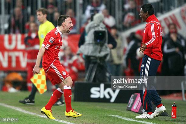 Franck Ribery of Bayern celebrates scoring his team's first goal with David Alaba during the Bundesliga match between FC Bayern Muenchen and...