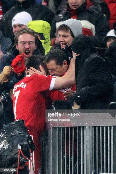 Franck Ribery of Bayern celebrates with the fans the third goal during the DFB Cup quarter final match between FC Bayern Muenchen and SpVgg Greuther...