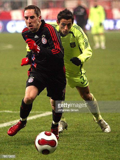 Franck Ribery of Bayern in action with Kristi Vangeli of Saloniki during the UEFA Cup Group F match between Bayern Munich and Aris Saloniki at the...