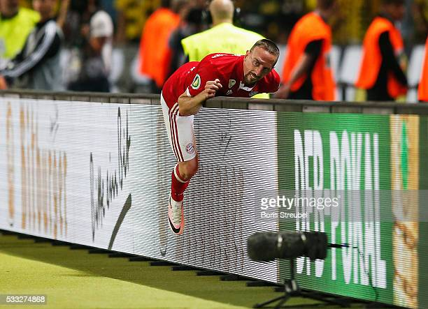Franck Ribery of Bayern is substituted during extra time in the DFB Cup Final between Bayern Muenchen and Borussia Dortmund at Olympiastadion on May...