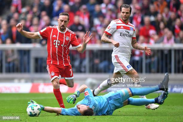 Franck Ribery of Bayern Muenchen about to score a goal to make it 10 during the Bundesliga match between FC Bayern Muenchen and Hamburger SV at...