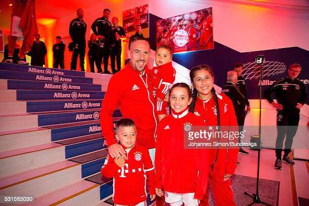 Franck Ribery of Bayern Muenchen and his family arrive for the Bundesliga match between FC Bayern Muenchen and Hannover 96 at Allianz Arenaon May 14...
