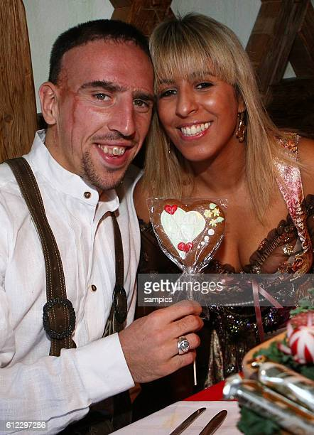 Franck Ribery of Bayern Muenchen and his wife Wahiba attend the Kaefer beer tent during the Oktoberfest beer festival on October 5 2008 in Munich...