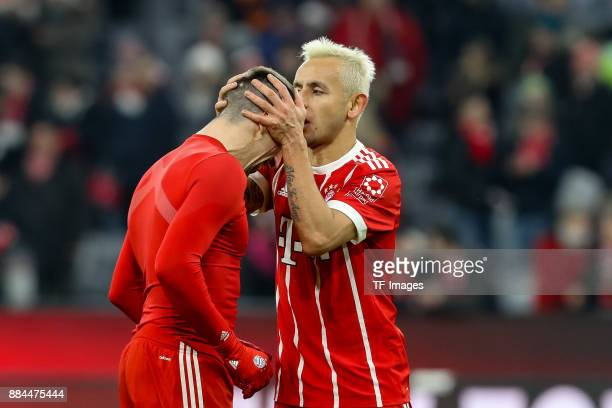 Franck Ribery of Bayern Muenchen and Rafinha of Bayern Muenchen celebrate after winning the Bundesliga match between FC Bayern Muenchen and Hannover...