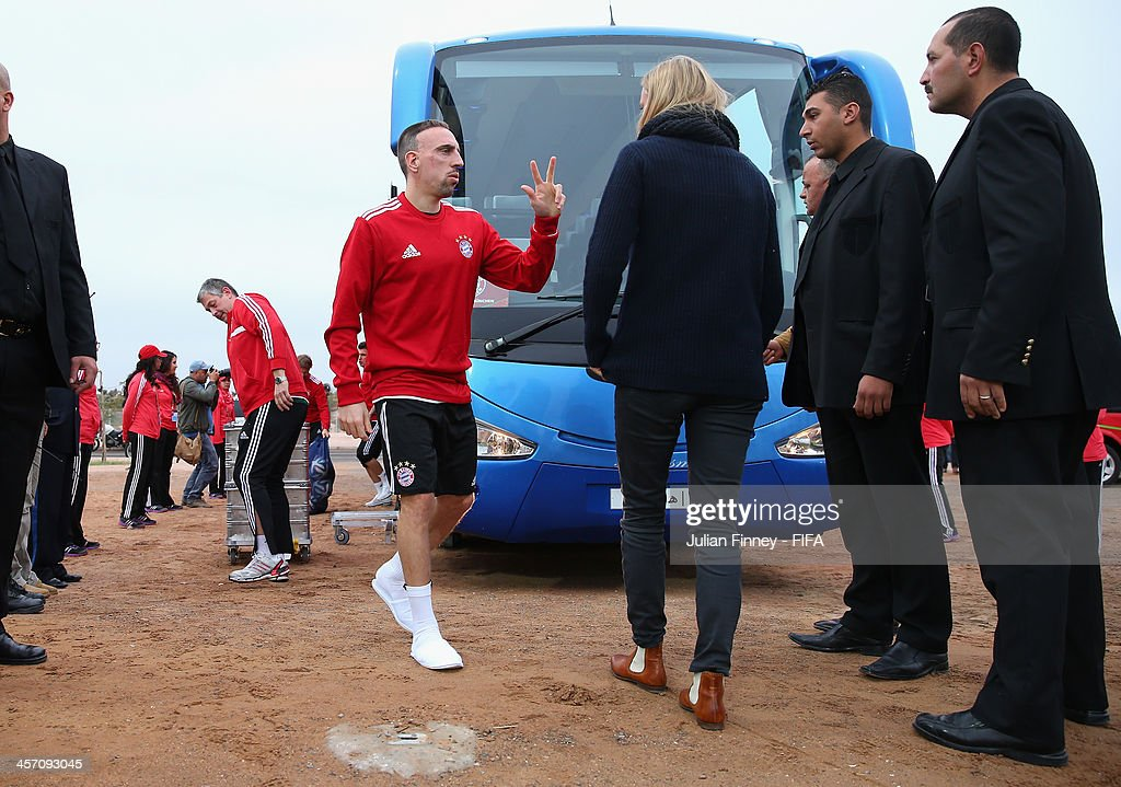 Franck Ribery of Bayern Muenchen arrives during a training session outside the Agadir Stadium on December 16, 2013 in Agadir, Morocco.