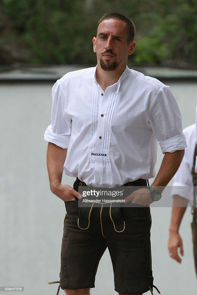 Franck Ribery of Bayern Muenchen arrives for the Paulaner photocall at the Nockerberg Biergarden on August 23, 2010 in Munich, Germany.
