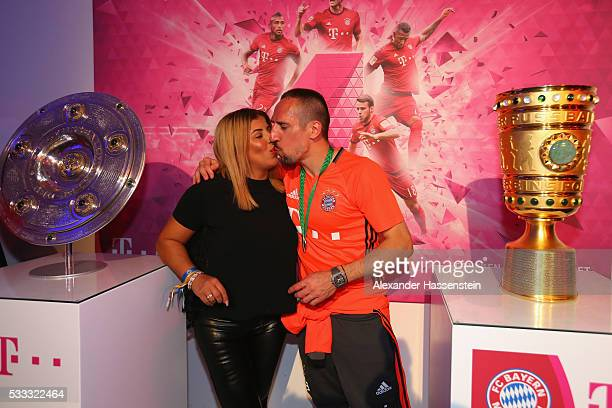 Franck Ribery of Bayern Muenchen attends with his wife Wahiba Ribery the FC Bayern Muenchen champions party at Deutsche Telekom's representative...
