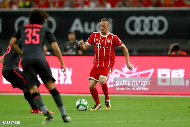 Franck Ribery of Bayern Muenchen battles for the ball during the Audi Football Summit 2017 match between Bayern Muenchen and Arsenal FC at Shanghai...