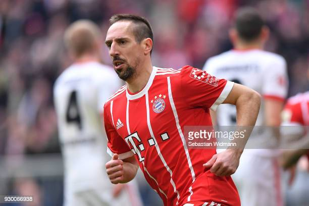 Franck Ribery of Bayern Muenchen celebrates after he scored a goal to make it 10 during the Bundesliga match between FC Bayern Muenchen and Hamburger...