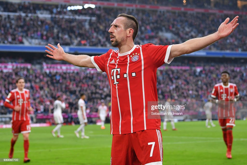 Franck Ribery of Bayern Muenchen celebrates after he scored a goal to make it 5:0 during the Bundesliga match between FC Bayern Muenchen and Hamburger SV at Allianz Arena on March 10, 2018 in Munich, Germany.
