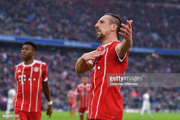 Franck Ribery of Bayern Muenchen celebrates after he scored a goal to make it 50 during the Bundesliga match between FC Bayern Muenchen and Hamburger...
