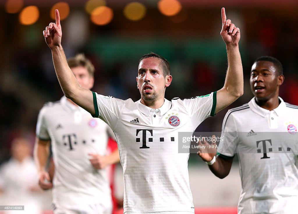Franck Ribery of Bayern Muenchen celebrates after scoring the opening goal during the FIFA Club World Cup Semi Final match between Guangzhou Evergrande FC and Bayern Muenchen at the Agadir Stadium on December 17, 2013 in Agadir, Morocco.