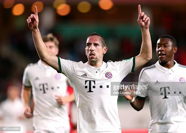Franck Ribery of Bayern Muenchen celebrates after scoring the opening goal during the FIFA Club World Cup Semi Final match between Guangzhou...