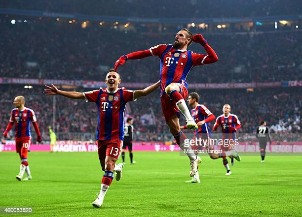 Franck Ribery of Bayern Muenchen celebrates after scoring the opening goal during the Bundesliga match between FC Bayern Muenchen and Bayer 04...