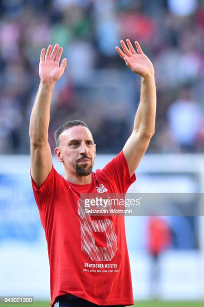 Franck Ribery of Bayern Muenchen celebrates after the Bundesliga match between FC Augsburg and FC Bayern Muenchen at WWKArena on April 7 2018 in...
