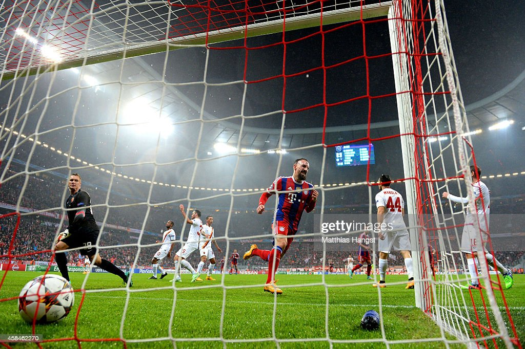 Franck Ribery of Bayern Muenchen celebrates as he scores their first goal past goalkeeper Lukasz Skorupski of AS Roma to during the UEFA Champions League Group E match between FC Bayern Munchen and AS Roma at Allianz Arena on November 5, 2014 in Munich, Germany.