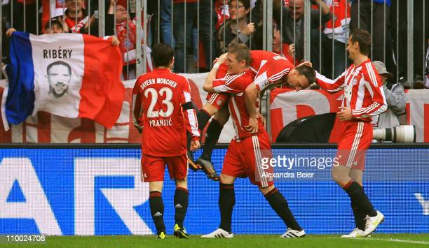 Franck Ribery of Bayern Muenchen celebrates his second goal with his teammates Danijel Pranjic Bastian Schweinsteiger and Miroslav Klose during the...