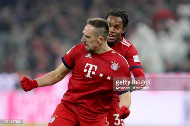 Franck Ribery of Bayern Muenchen celebrates scoring the opening goal with his team mate Renato Sanches during the Bundesliga match between FC Bayern...